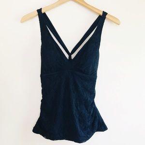 Athena Black Shirred Crossback Tankini Top, 12